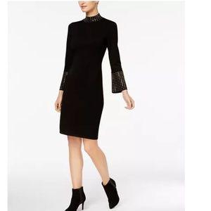 Calvin Klein Gold Studded Black Sweater Dress NWT!